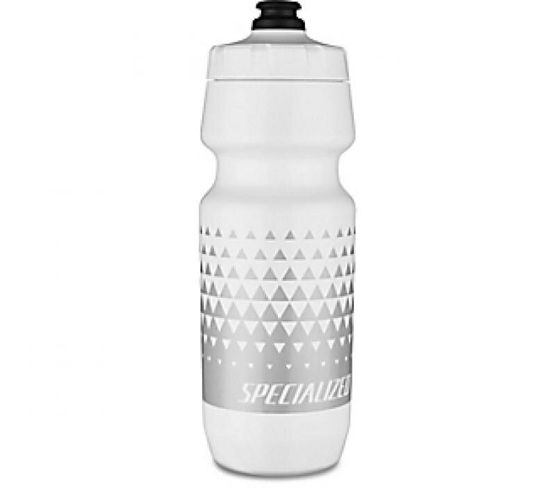 Specialized Big Mouth Water Bottle - White/Metallic Silver Triangle Fade 24oz